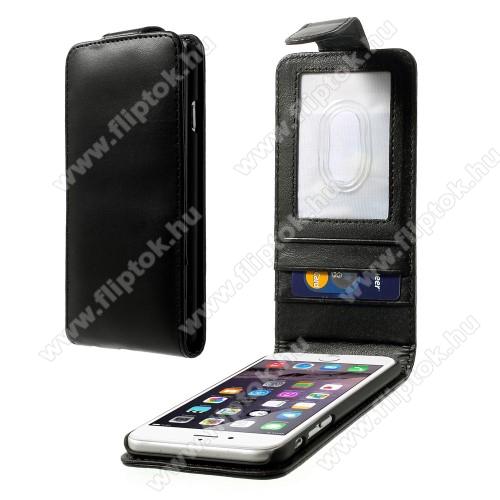 APPLE iPhone 6Flip tok - lefelé nyíló, rejtett mágneses záródás. Bankkártya / igazolvány tartó zsebek, hátrafelé záródó - FEKETE - PRÉMIUM - APPLE iPhone 6
