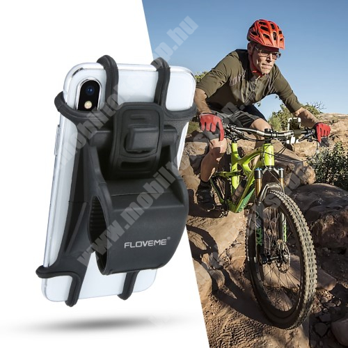"""Elephone P9 Water FLOVEME UNIVERZÁLIS motoros / kerékpáros / babakocsi tartó konzol mobiltelefon készülékekhez - szilikon, kormányra rögzíthető, 4-6.3""""-os készülékekhez - FEKETE - GYÁRI"""