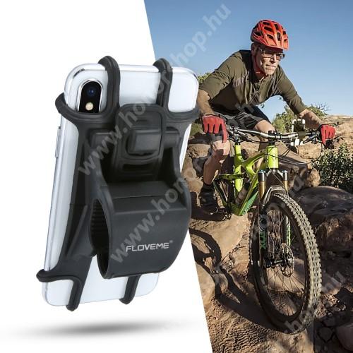 """HUAWEI Honor 9 FLOVEME UNIVERZÁLIS motoros / kerékpáros / babakocsi tartó konzol mobiltelefon készülékekhez - szilikon, kormányra rögzíthető, 4-6.3""""-os készülékekhez - FEKETE - GYÁRI"""