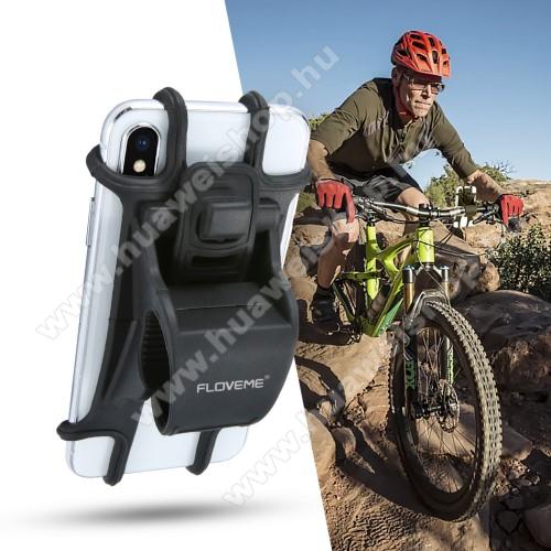 FLOVEME UNIVERZÁLIS motoros / kerékpáros / babakocsi tartó konzol mobiltelefon készülékekhez - szilikon, kormányra rögzíthető, 4-6.3