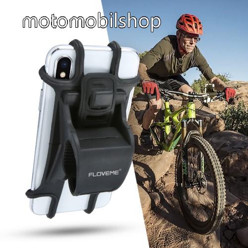 """FLOVEME UNIVERZÁLIS motoros / kerékpáros / babakocsi tartó konzol mobiltelefon készülékekhez - szilikon, kormányra rögzíthető, 4-6.3""""-os készülékekhez - FEKETE"""