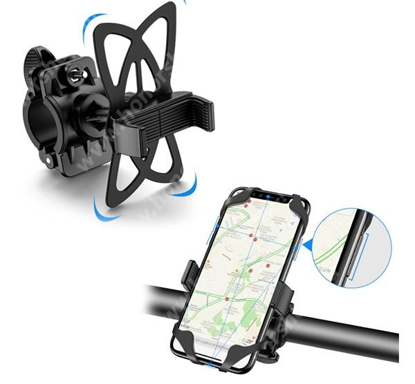 """HUAWEI Honor 9 FLOVEME UNIVERZÁLIS motoros / kerékpáros tartó konzol mobiltelefon készülékekhez - szilikon, kormányra rögzíthető, 4-6.8""""-os készülékekhez - FEKETE - GYÁRI"""