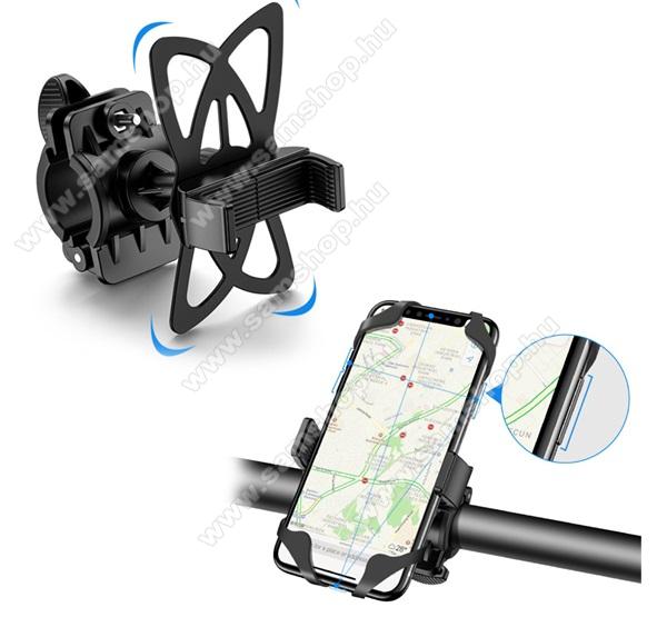 SAMSUNG SGH-Z650iFLOVEME UNIVERZÁLIS motoros / kerékpáros tartó konzol mobiltelefon készülékekhez - szilikon, kormányra rögzíthető, 4-6.8
