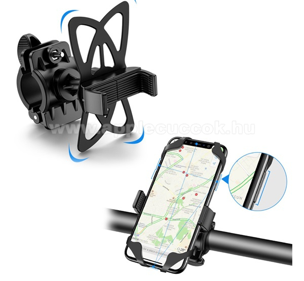 APPLE iPhone XSFLOVEME UNIVERZÁLIS motoros / kerékpáros tartó konzol mobiltelefon készülékekhez - szilikon, kormányra rögzíthető, 4-6.8