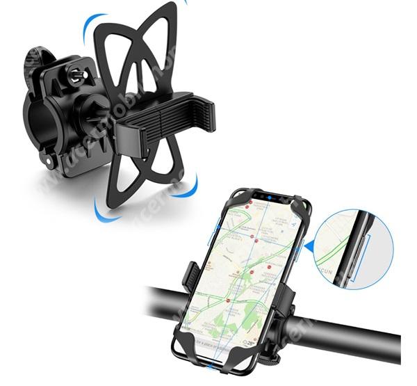 """ACER Liquid Z220 FLOVEME UNIVERZÁLIS motoros / kerékpáros tartó konzol mobiltelefon készülékekhez - szilikon, kormányra rögzíthető, 4-6.8""""-os készülékekhez - FEKETE - GYÁRI"""