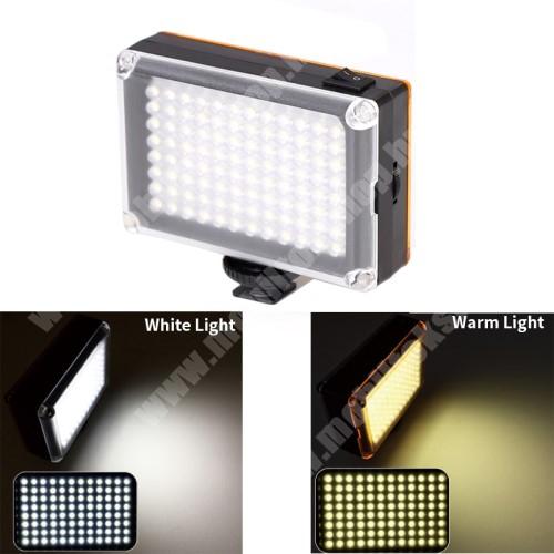 """FT-96 hordozható 96 LED-es lámpa /  szelfi fény - 1/4""""-os rögzítő univerzális csavarral, állítható színhőmérséklet, 3200-5500K, mágneses fehér és sárga szűrő, hordozható - FEKETE"""