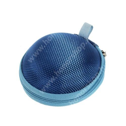 HUAWEI Honor 8 Premium Fülhallgató / headset / james bond textil tok - cipzáras, puha bélés - 80 x 80 x 30mm - SÖTÉTKÉK
