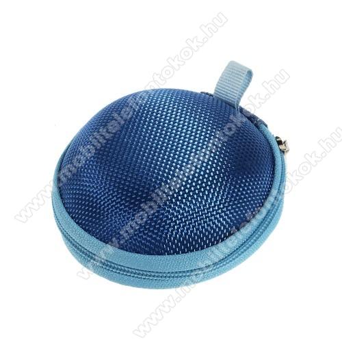 Fülhallgató / headset / james bond textil tok - cipzáras, puha bélés - 80 x 80 x 30mm - SÖTÉTKÉK