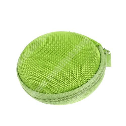 ALCATEL Flash (2017) Fülhallgató / headset / james bond textil tok - cipzáras, puha bélés - 80 x 80 x 30mm - ZÖLD