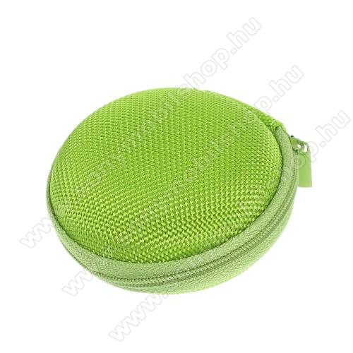 SONY Xperia M DUALFülhallgató / headset / james bond textil tok - cipzáras, puha bélés - 80 x 80 x 30mm - ZÖLD