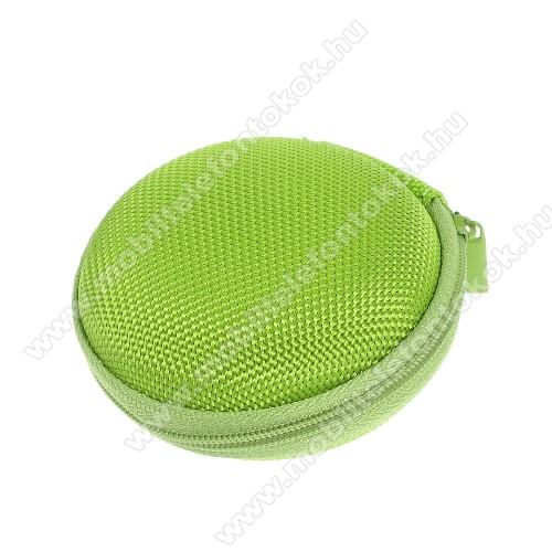 Fülhallgató / headset / james bond textil tok - cipzáras, puha bélés - 80 x 80 x 30mm - ZÖLD