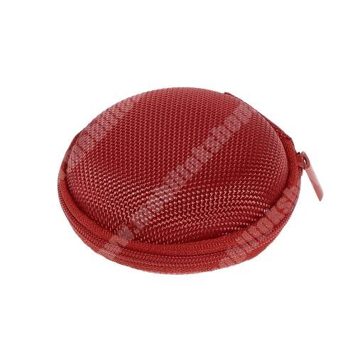 ALCATEL Flash (2017) Fülhallgató / headset / james bond textil tok - cipzáras, puha bélés - 80 x 80 x 30mm - PIROS