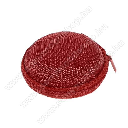 SONY Xperia M DUALFülhallgató / headset / james bond textil tok - cipzáras, puha bélés - 80 x 80 x 30mm - PIROS