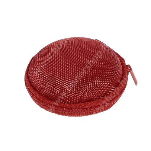 HUAWEI Honor 9 Fülhallgató / headset / james bond textil tok - cipzáras, puha bélés - 80 x 80 x 30mm - PIROS