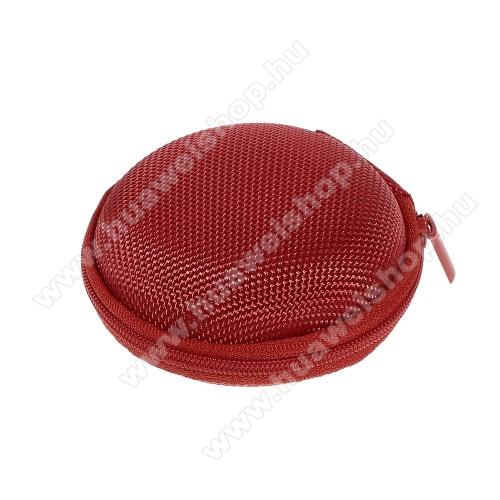 HUAWEI T-Mobile Pulse MiniFülhallgató / headset / james bond textil tok - cipzáras, puha bélés - 80 x 80 x 30mm - PIROS