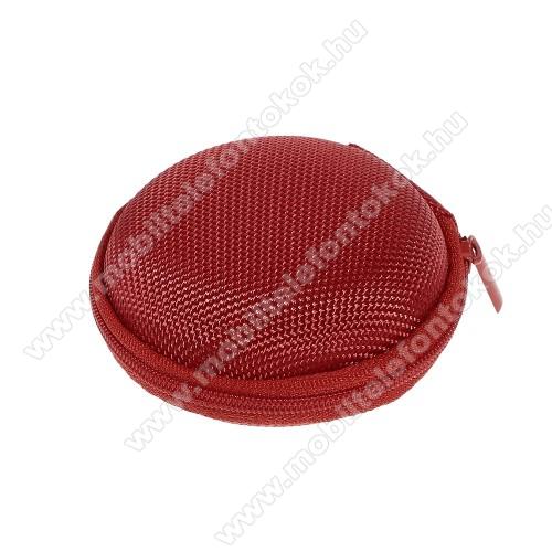 Fülhallgató / headset / james bond textil tok - cipzáras, puha bélés - 80 x 80 x 30mm - PIROS