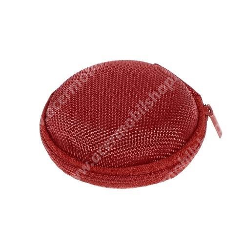 ACER Iconia Tab A500 Fülhallgató / headset / james bond textil tok - cipzáras, puha bélés - 80 x 80 x 30mm - PIROS