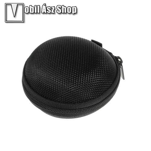 HUAWEI P9Fülhallgató / headset / james bond textil tok - cipzáras, puha bélés - 80 x 80 x 30mm - FEKETE