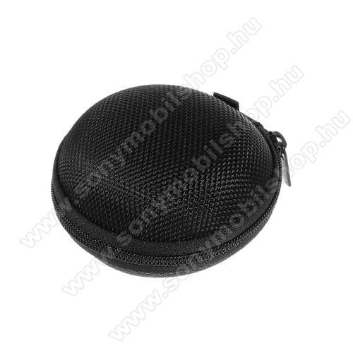 SONY Xperia Z4 CompactFülhallgató / headset / james bond textil tok - cipzáras, puha bélés - 80 x 80 x 30mm - FEKETE