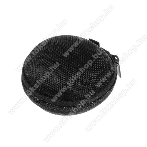 Elephone S3 LiteFülhallgató / headset / james bond textil tok - cipzáras, puha bélés - 80 x 80 x 30mm - FEKETE