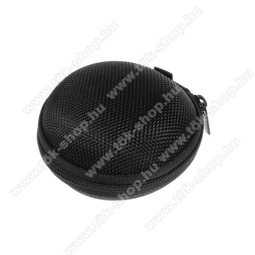 Motorola One MacroFülhallgató / headset / james bond textil tok - cipzáras, puha bélés - 80 x 80 x 30mm - FEKETE