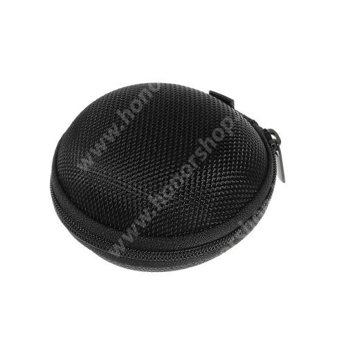 HUAWEI Honor 9 Fülhallgató / headset / james bond textil tok - cipzáras, puha bélés - 80 x 80 x 30mm - FEKETE