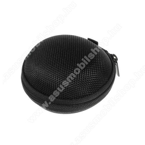 ASUS Fonepad 7 (ME372CL / ME175CG)Fülhallgató / headset / james bond textil tok - cipzáras, puha bélés - 80 x 80 x 30mm - FEKETE