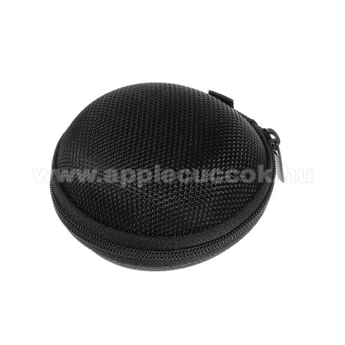 APPLE iPad 9.7 (6th generation) (2018) Fülhallgató / headset / james bond textil tok - cipzáras, puha bélés - 80 x 80 x 30mm - FEKETE