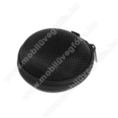 HUAWEI Enjoy 9eFülhallgató / headset / james bond textil tok - cipzáras, puha bélés - 80 x 80 x 30mm - FEKETE