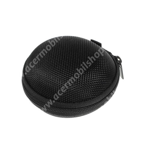 ACER Iconia Tab A501 Fülhallgató / headset / james bond textil tok - cipzáras, puha bélés - 80 x 80 x 30mm - FEKETE