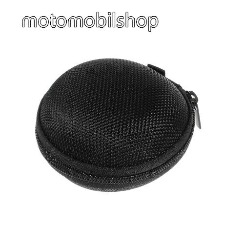 MOTOROLA Moto G4 Plus Fülhallgató / headset / james bond textil tok - cipzáras, puha bélés - 80 x 80 x 30mm - FEKETE