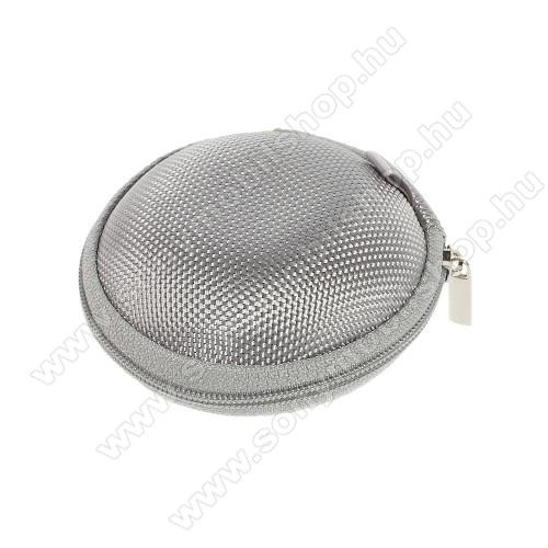 SONY Xperia M DUALFülhallgató / headset / james bond textil tok - cipzáras, puha bélés - 80 x 80 x 30mm - SZÜRKE
