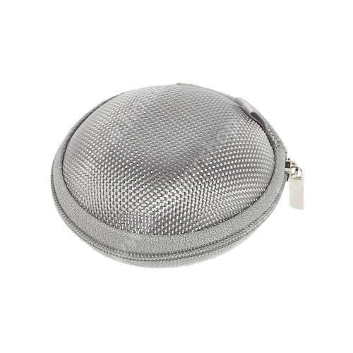 HUAWEI Honor 4A (Y6) Fülhallgató / headset / james bond textil tok - cipzáras, puha bélés - 80 x 80 x 30mm - SZÜRKE