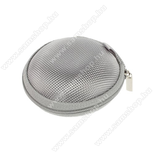 SAMSUNG Galaxy Tab 3 10.1 (GT-P5220)Fülhallgató / headset / james bond textil tok - cipzáras, puha bélés - 80 x 80 x 30mm - SZÜRKE