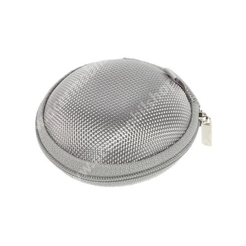 Fülhallgató / headset / james bond textil tok - cipzáras, puha bélés - 80 x 80 x 30mm - SZÜRKE