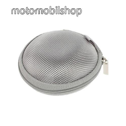 MOTOROLA Xoom 2 Media Edition (MZ608) Fülhallgató / headset / james bond textil tok - cipzáras, puha bélés - 80 x 80 x 30mm - SZÜRKE