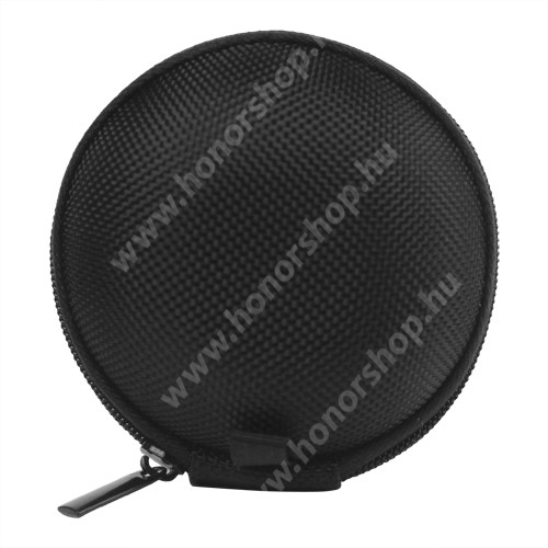 HUAWEI Honor 4A (Y6) Fülhallgató / headset / james bond textil tok - cipzáras - 67 mm átmérőjű - FEKETE