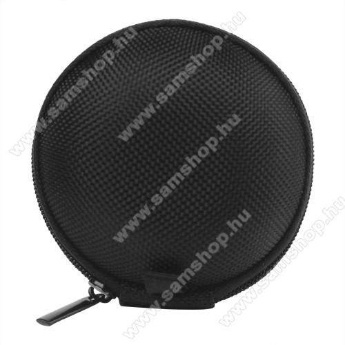 SAMSUNG Galaxy Y Duos (GT-S6102)Fülhallgató / headset / james bond textil tok - cipzáras - 67 mm átmérőjű - FEKETE