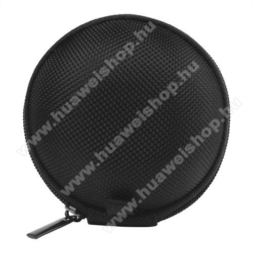 HUAWEI T-Mobile Pulse MiniFülhallgató / headset / james bond textil tok - cipzáras - 67 mm átmérőjű - FEKETE