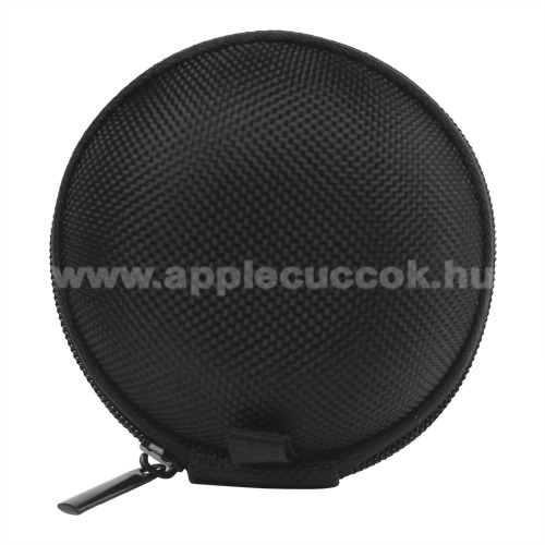 APPLE iPhone 3GSFülhallgató / headset / james bond textil tok - cipzáras - 67 mm átmérőjű - FEKETE