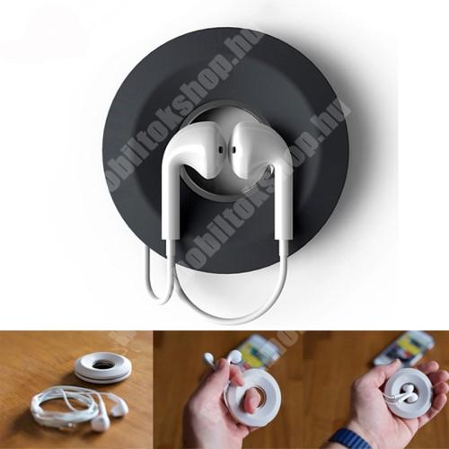 Meizu C9 Fülhallgató / headset kábel szervező, kötegelő - szilikon, mágneses, kör alakú - SÖTÉTSZÜKRE