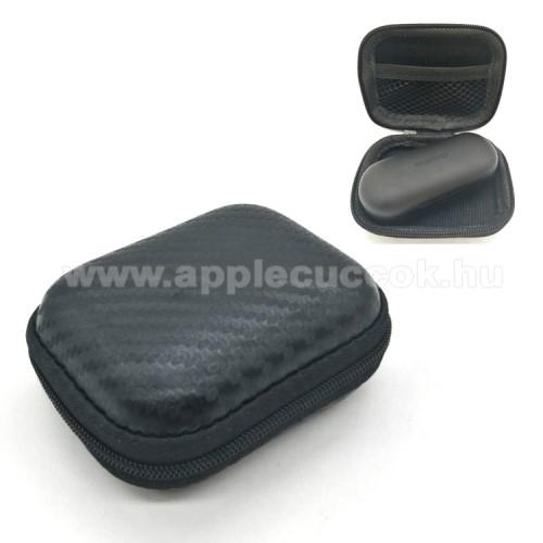 Fülhallgató / headset / USB kábeltartó tok - karbon mintás, vízálló, cipzár, hálós zseb - 112 x 99 x 20 mm - FEKETE