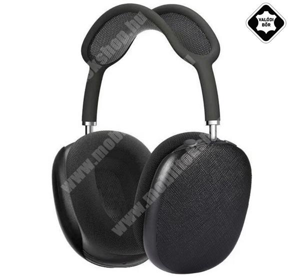Fülhallgató védő AirPods Max-hoz - valódi bőrrel / szövettel bevont - FEKETE