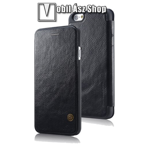 G-CASE notesz / mappa tok - oldalra ny�l� flip cover, b�r h�tlap - FEKETE - APPLE iPhone 6 / APPLE iPhone 6s