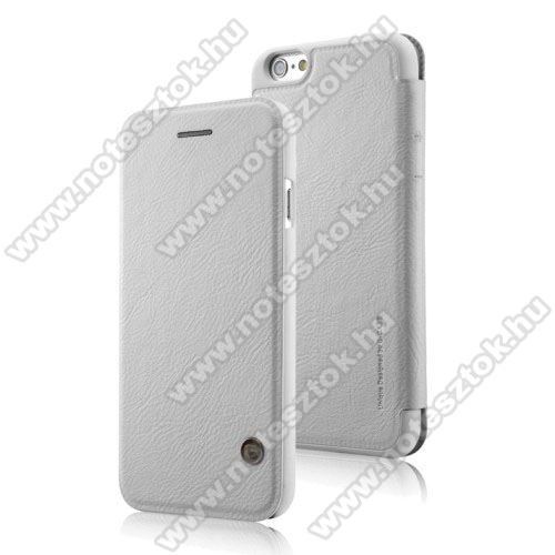 APPLE iPhone 6 G-CASE notesz / mappa tok - oldalra nyíló flip cover, bőr hátlap - FEHÉR - APPLE iPhone 6 / APPLE iPhone 6s