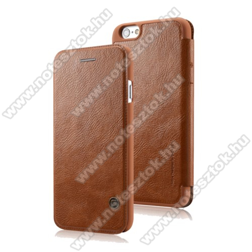 APPLE iPhone 6 G-CASE notesz / mappa tok - oldalra nyíló flip cover, bőr hátlap - BARNA- APPLE iPhone 6 / APPLE iPhone 6s