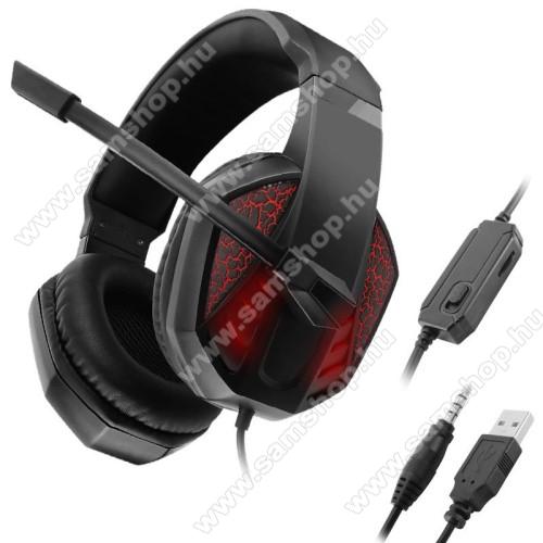 GAMING GEAR C971 headset / fejhallgató - 3,5mm Jack és USB csatlakozás, 1.2m hosszú kábel, mikrofon, hangerő szabályzó, némító gomb, PC adapter, LED fény - FEKETE / PIROS - GYÁRI