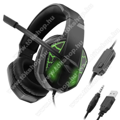 GAMING GEAR C971 headset / fejhallgató - 3,5mm Jack és USB csatlakozás, 1.2m hosszú kábel, mikrofon, hangerő szabályzó, némító gomb, PC adapter, LED fény - FEKETE / ZÖLD - GYÁRI