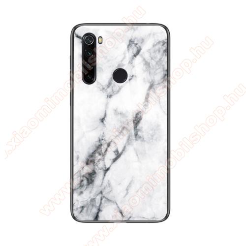GLASS CASE műanyag védő tok / hátlap védő edzett üveg - FEHÉR MÁRVÁNY MINTÁS - szilikon szegély - Xiaomi Redmi Note 8