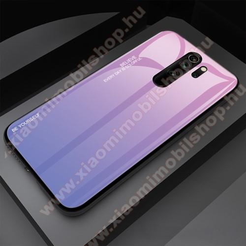 GLASS CASE műanyag védő tok / hátlap védő edzett üveg - RÓZSASZÍN / KÉK - szilikon szegély - Xiaomi Redmi Note 8 Pro